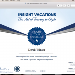 Insight Vacations Certificate